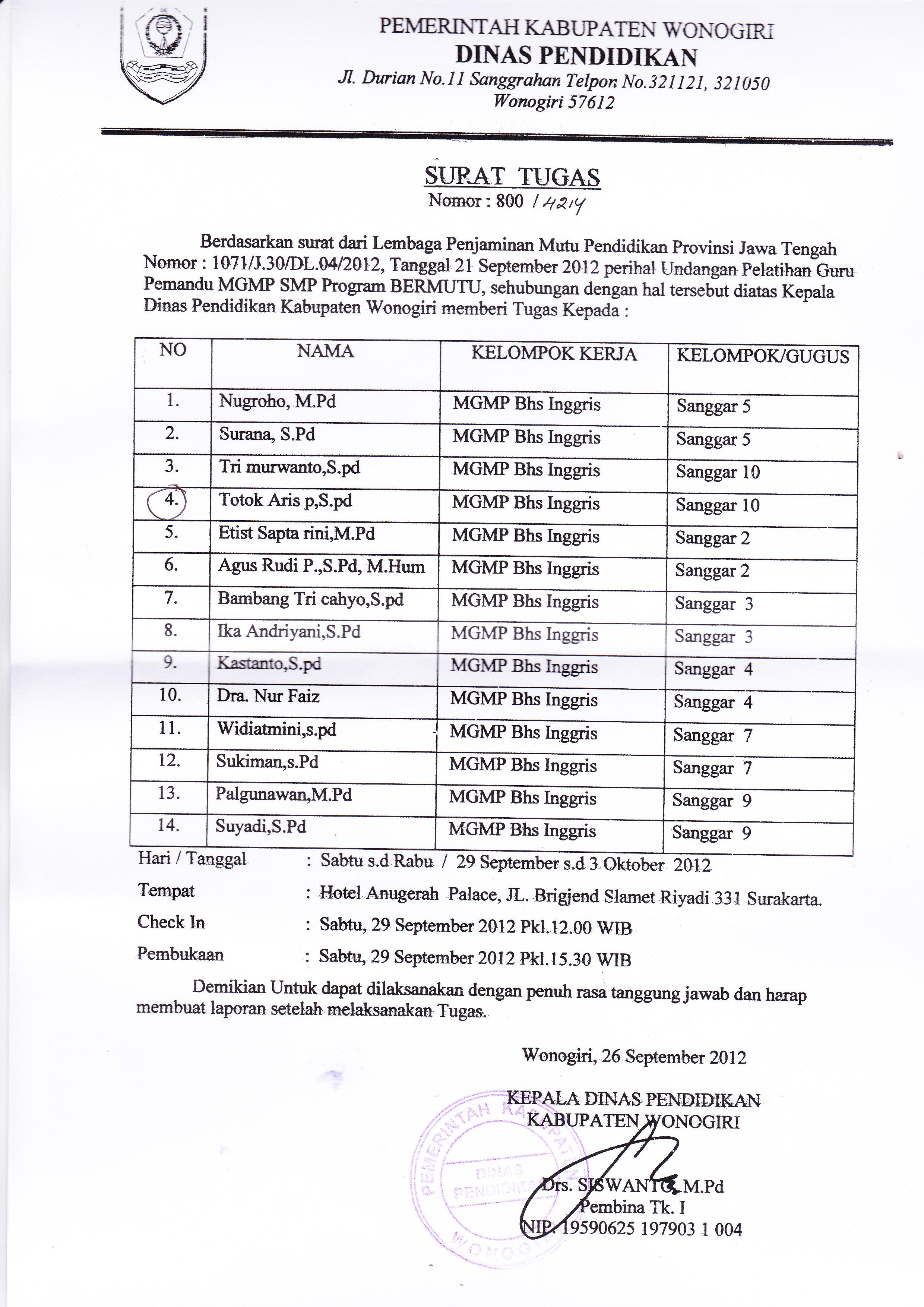 Surat Tugas Guru Pemandu Mgmp Bahasa Inggris Smp Kabupaten Wonogiri
